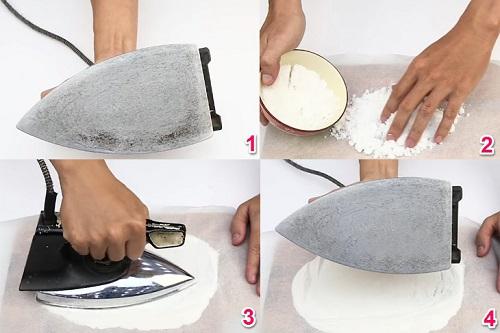 vệ sinh bàn ủi bằng muối